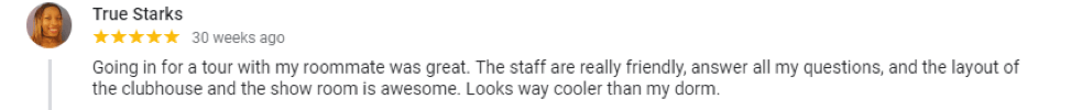 A review for Lakeside Commons student only apartments